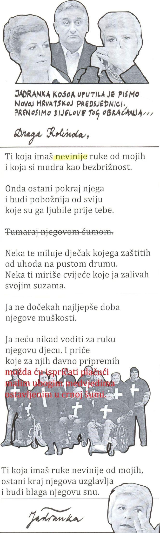jadranka piše kolindi